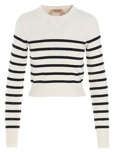 N° 21 - Striped crystals sweater in black and white
