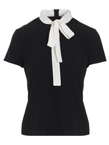Red Valentino - Blouse with bow on the neckline in black