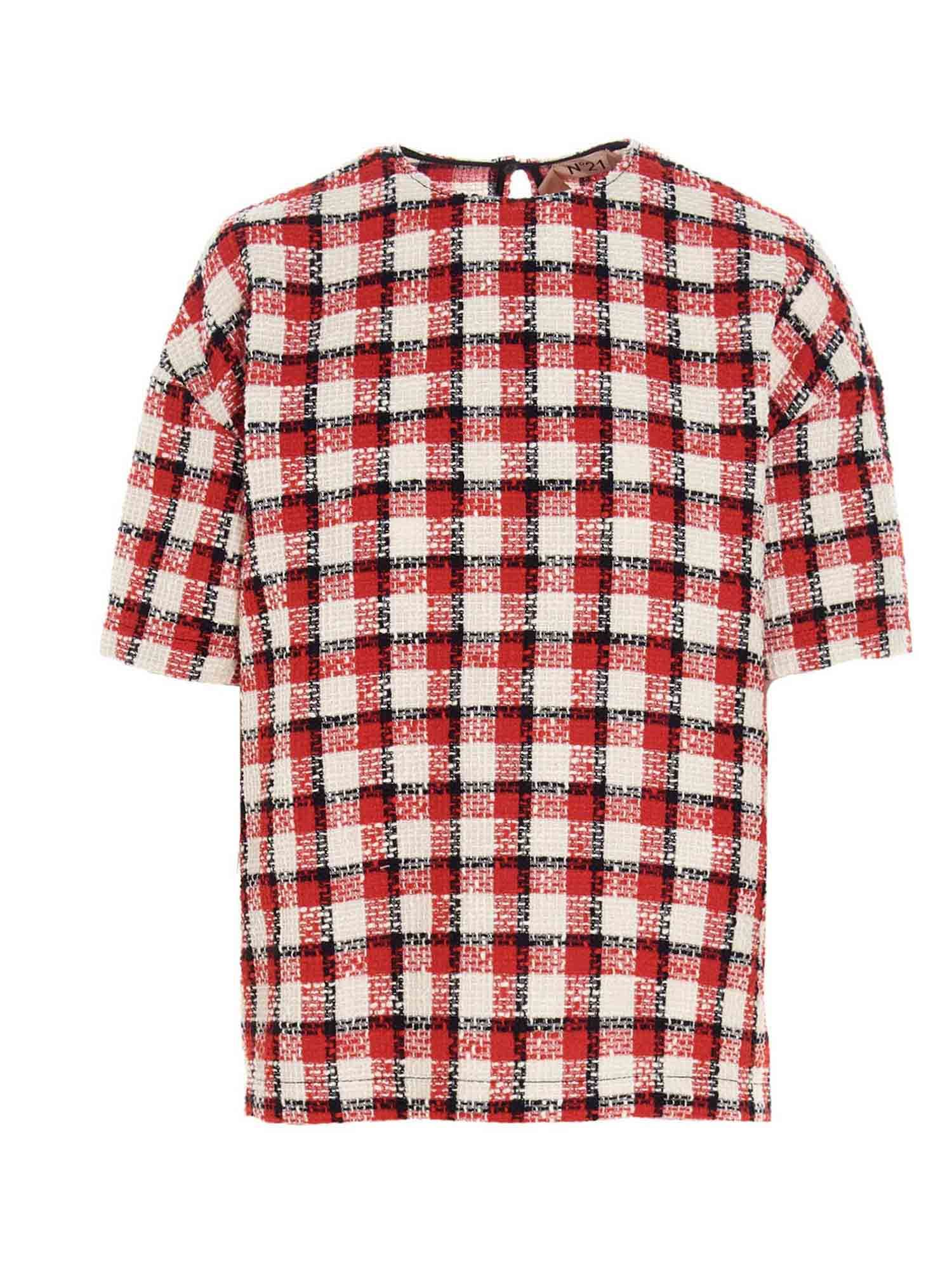 N°21 Blouses CHECKED TWEED T-SHIRT IN RED