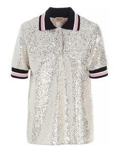 N° 21 - Sequined polo shirt in silver color