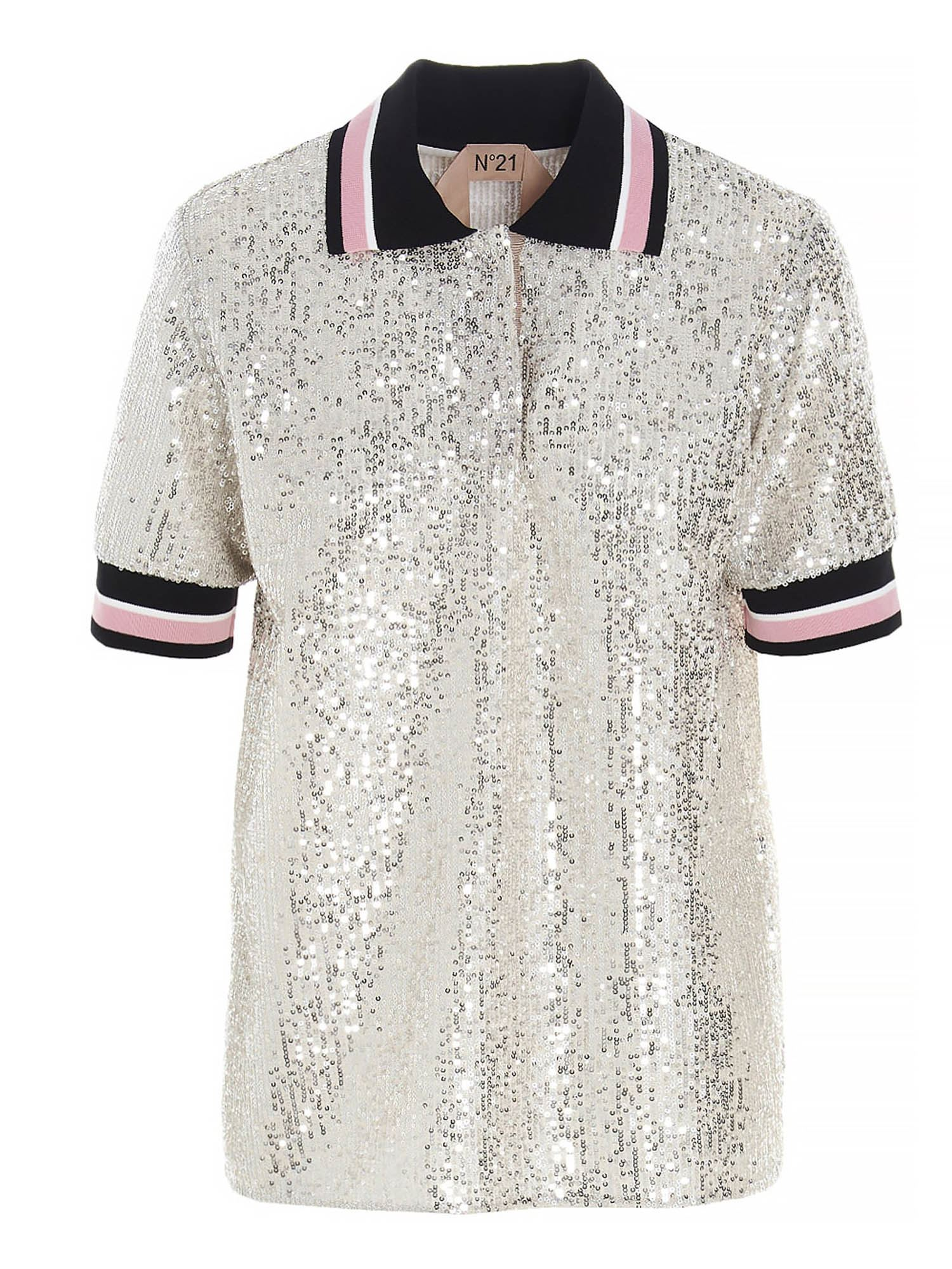 N°21 SEQUINED POLO SHIRT IN SILVER COLOR
