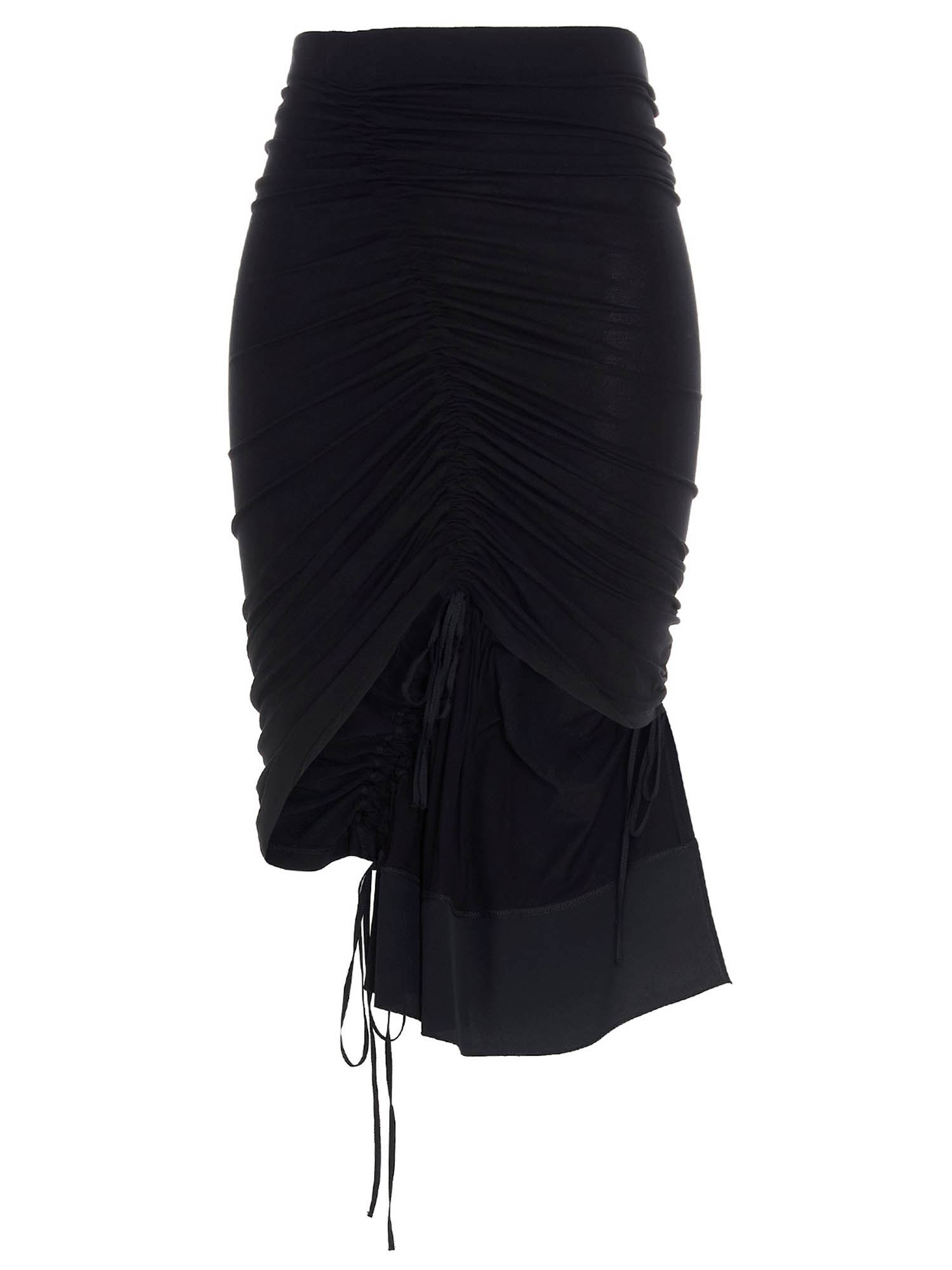 N°21 ASYMMETRICAL DRAWSTRING SKIRT IN BLACK