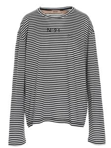 N° 21 - Logo striped t-shirt in white and black