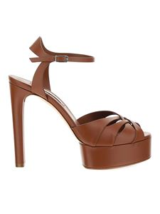 Casadei - Heeled leather sandals in brown