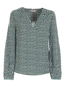 Tommy Hilfiger - Geometric pattern blouse in white and green
