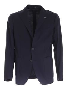 Tagliatore - Logo brooch virgin wool suit in blue