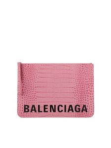 Balenciaga - Croc print leather clutch bag in pink
