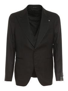 Tagliatore - Stretch silk wool blend suit in black