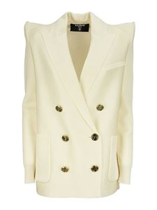 Balmain - Double-breasted viscose blazer in cream color