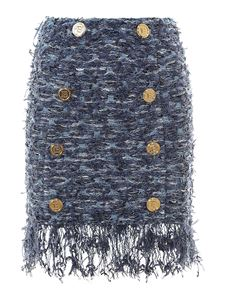 Balmain - Tweed skirt in blue