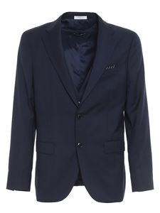 Boglioli - Check virgin wool suit in blue