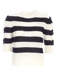 Les Copains - Striped sweater in white and blue