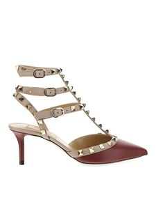 Valentino Garavani - Rockstud sandals in burgundy and beige
