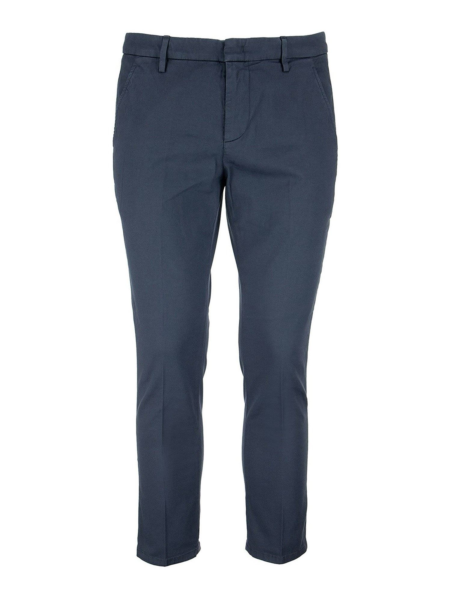 Dondup Cottons ALFREDO COTTON-BLEND TROUSERS IN BLUE