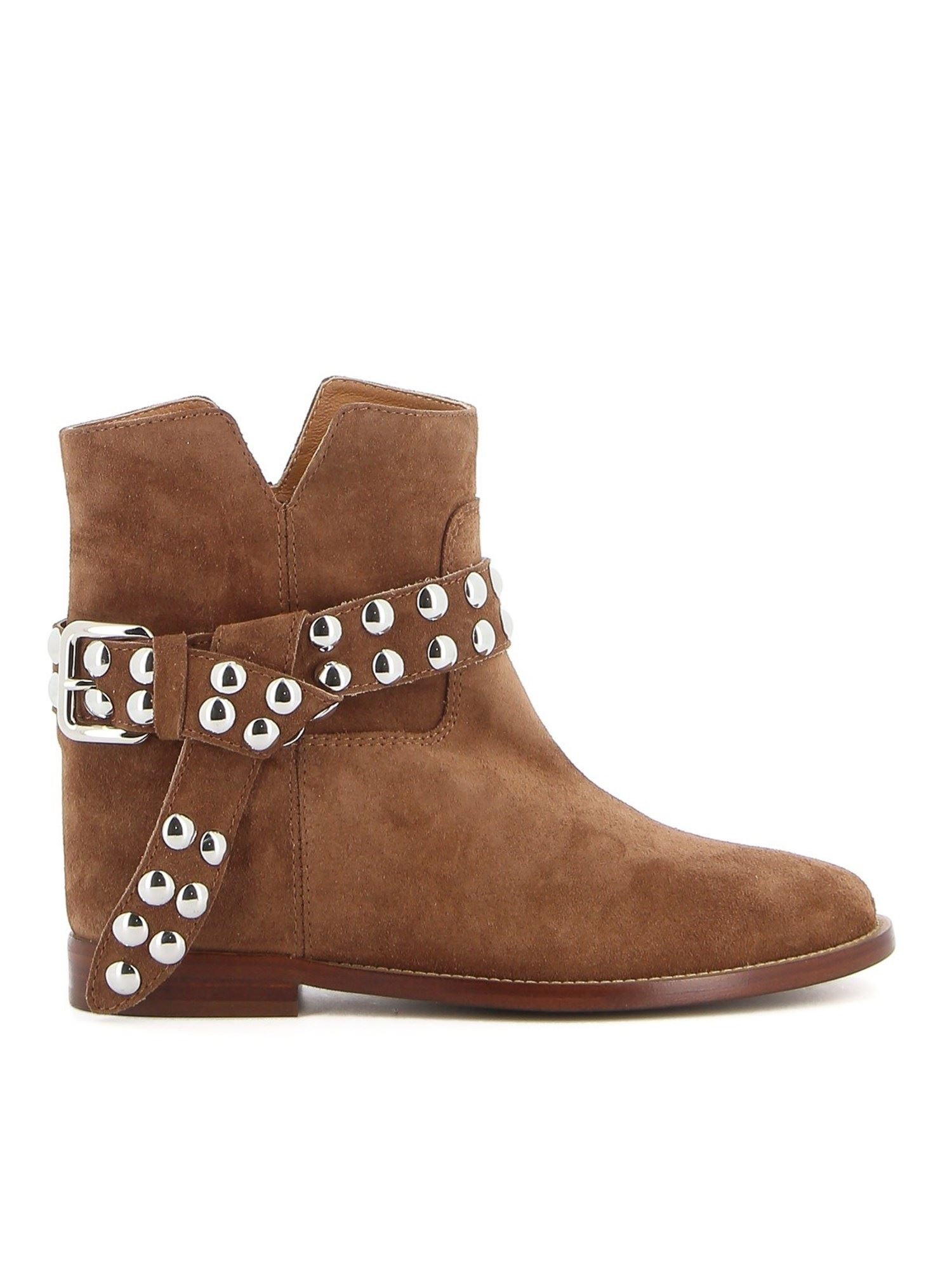 Via Roma 15 SUEDE STUDDED ANKLE BOOTS IN BROWN
