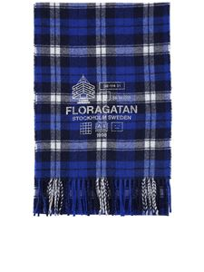 Acne Studios - Checked wool blend scarf in blue