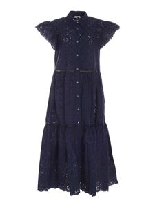 Parosh - All-over embroidery long dress in blue