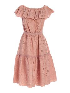 Parosh - All-over embroidery long dress in pink