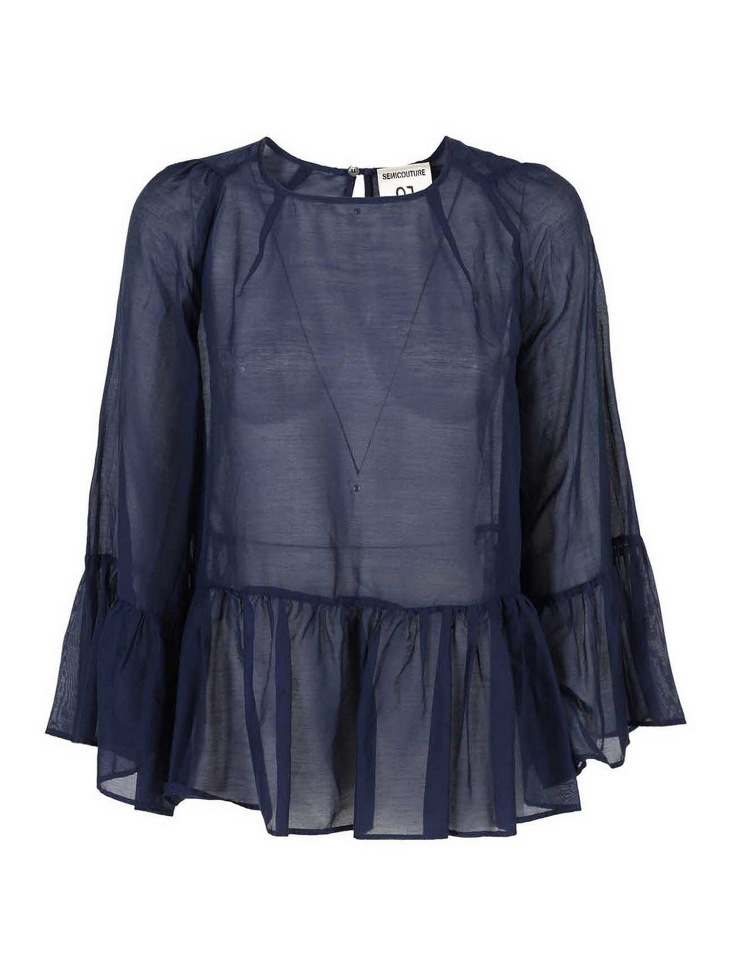 Semicouture FRANCE BLOUSE IN BLUE
