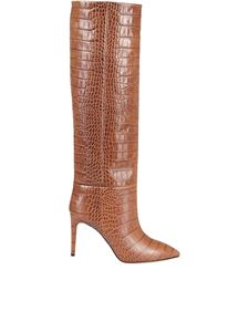 Paris Texas - Croco print leather boots in brown