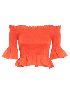 Patrizia Pepe - Smock stitch cropped top in orange color