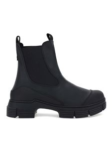 Ganni - Recycled rubber rainwear ankle boots in black
