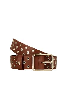 Patrizia Pepe - Metal eyelets leather belt in brown