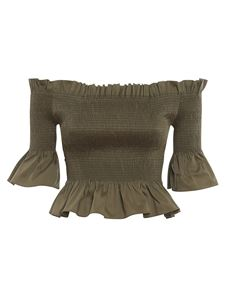 Patrizia Pepe - Smock stitch cropped top in green
