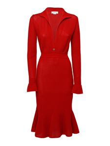 Genny - Flared knitted dress in red