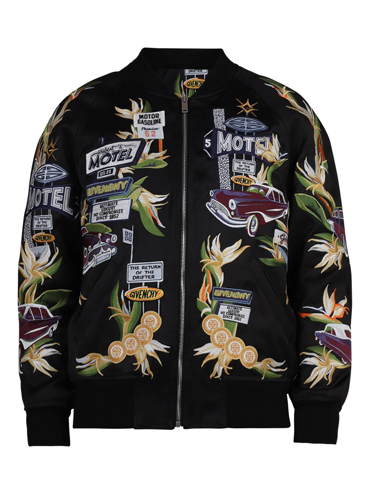 Givenchy Linings EMBROIDERED VISCOSE BOMBER JACKET IN BLACK