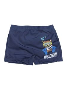 Moschino Kids - Teddy printed swim shorts in blue