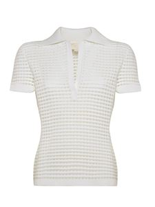Genny - Knitted polo shirt in white