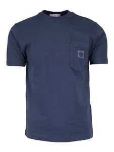 Stone Island - Logo patch T-shirt in blue