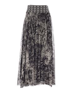 Fuzzi - Printed tulle skirt in black and white