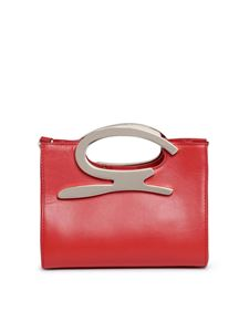 Genny - Branded leather mini bag in red