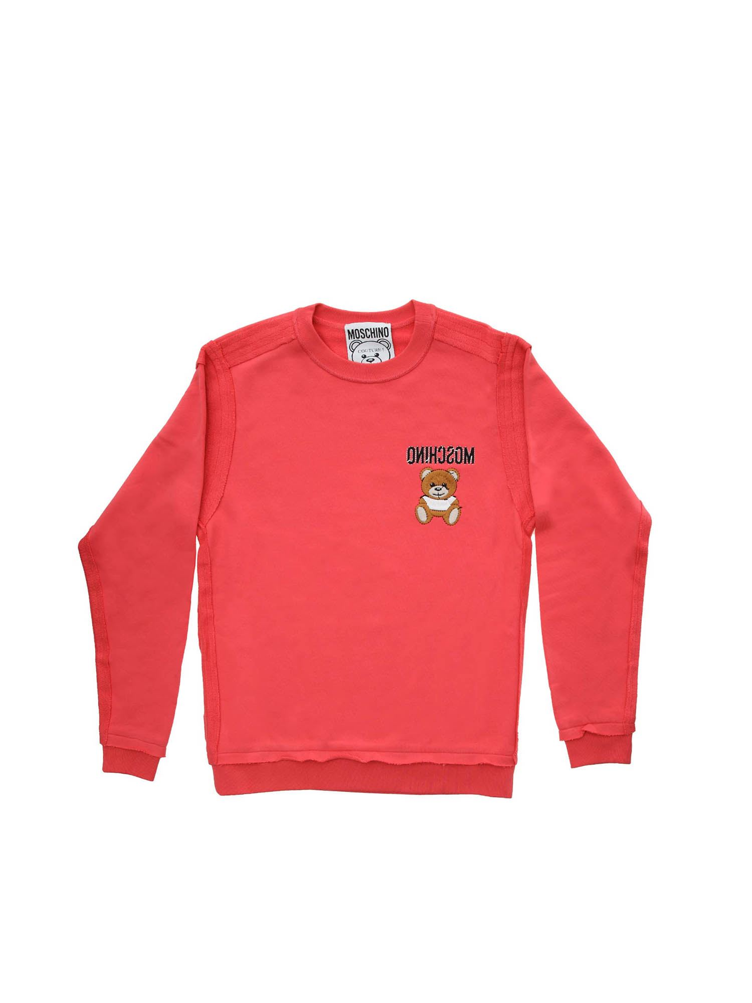 Moschino PATCH TEDDY BEAR SWEATSHIRT IN CORAL