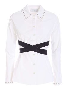 Gaelle Paris - Black branded bands shirt in white