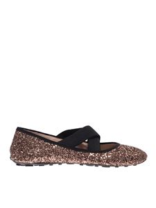 Car Shoe - Glittered ballet flats in Cammeo color