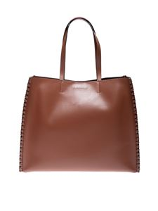 Orciani - Large Liberty Mesh shopper bag in brown