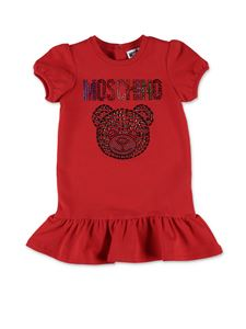 Moschino Kids - Crystals Teddy Bear dress in red