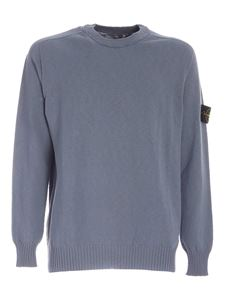 Stone Island - Logo patch sweater in pale blue color