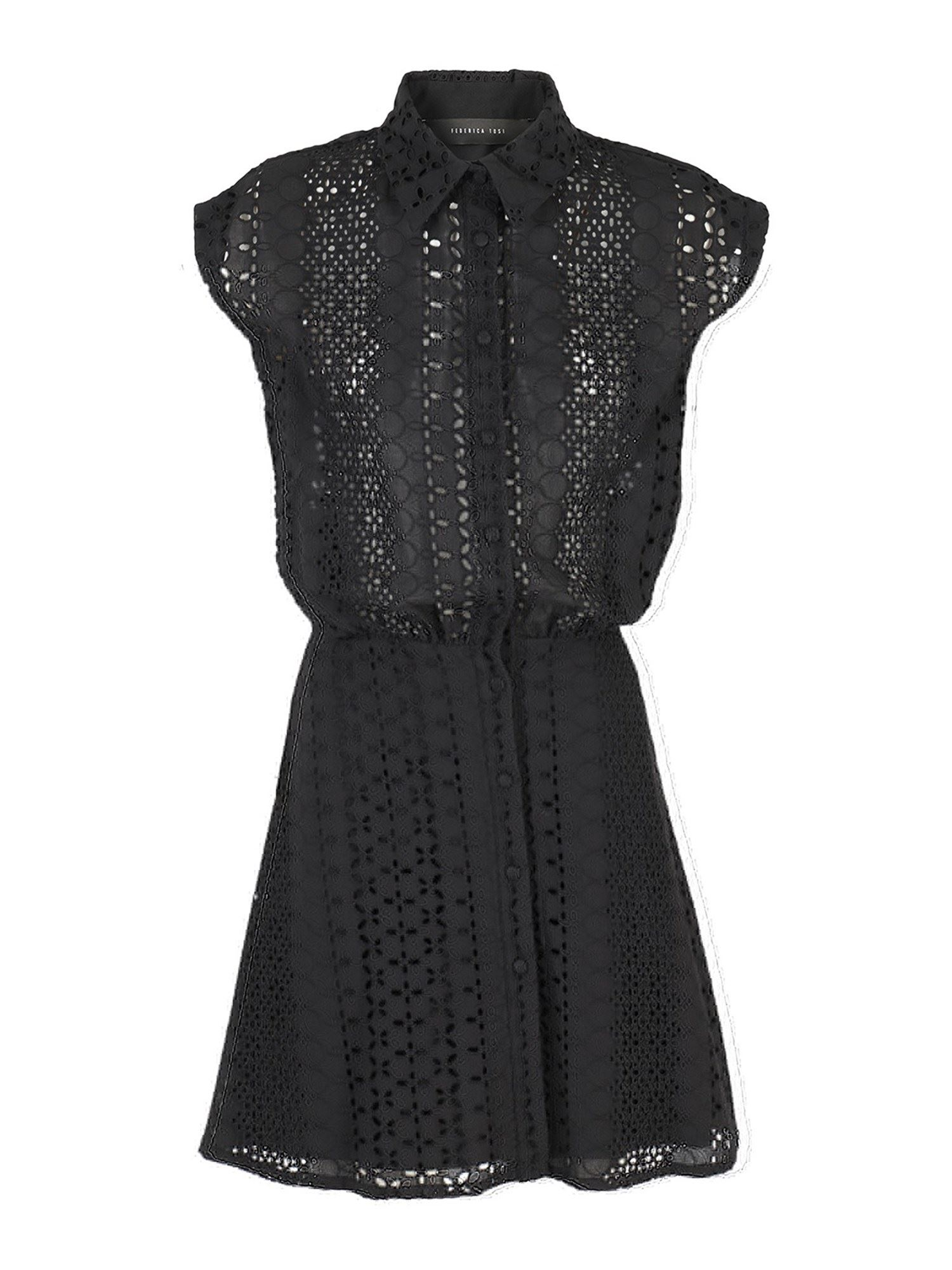 Federica Tosi LACE SHIRT DRESS IN BLACK