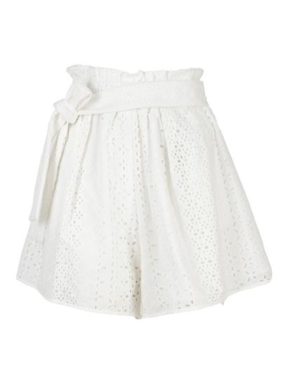 Federica Tosi - Cotton broderie anglaise shorts in white