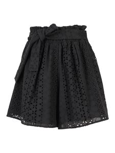 Federica Tosi - Cotton broderie anglaise shorts in black