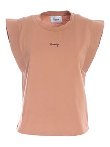 Dondup - Logo print top in nude color