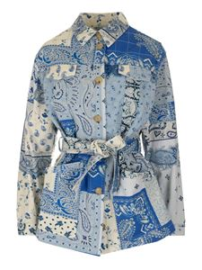 Etro - Patchwork jacket in light blue and blue