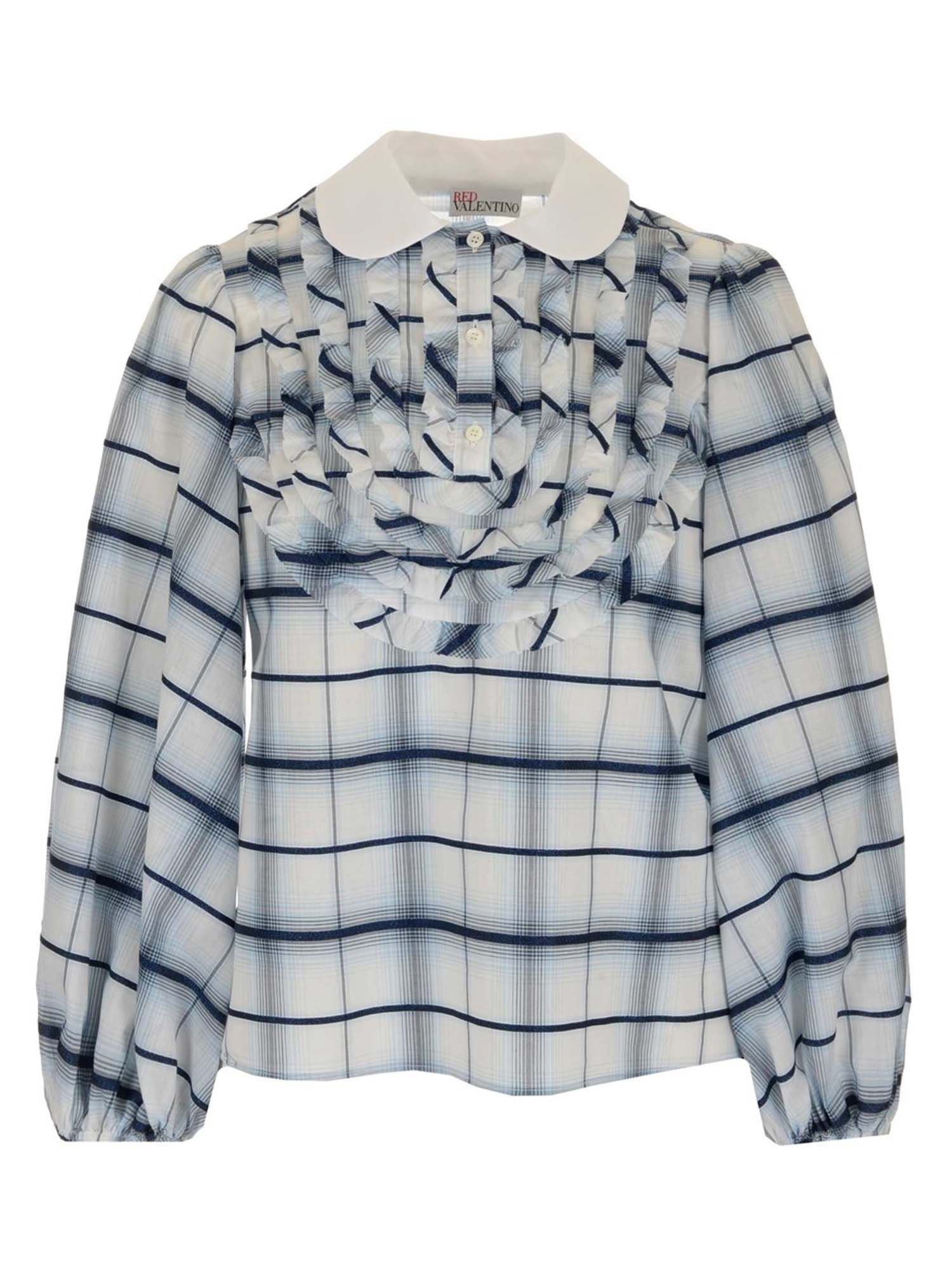 Red Valentino Blouses CHECKED SHIRT IN LIGHT BLUE