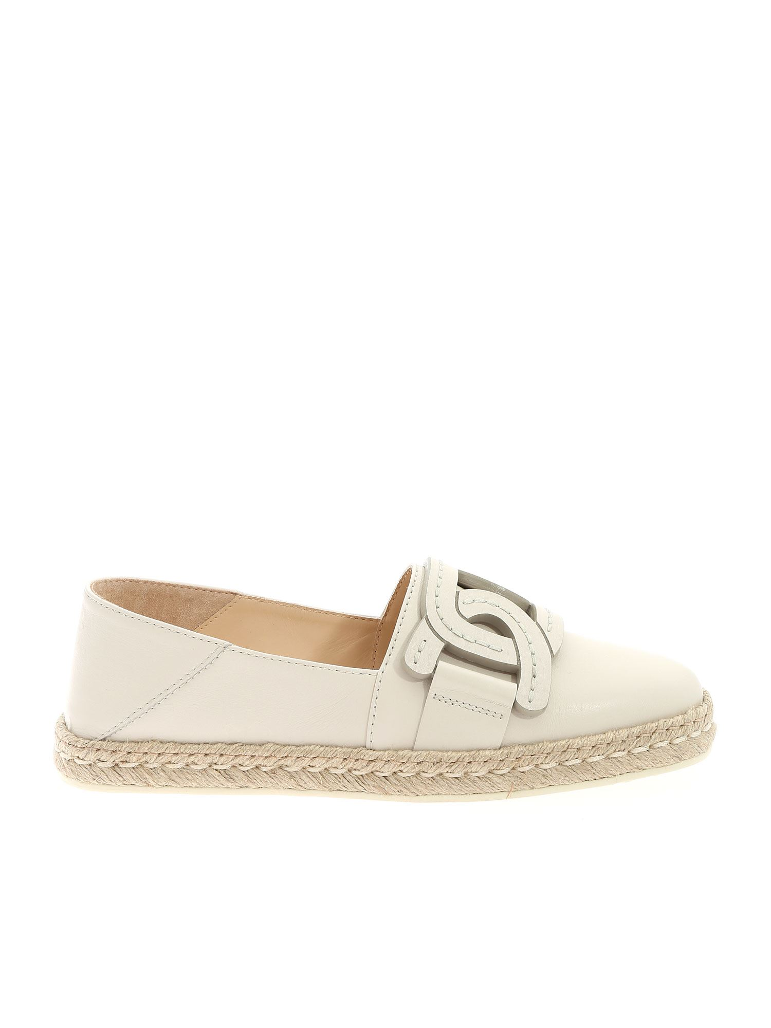 Tod's Leathers CHAIN ESPADRILLES IN ICE COLOR