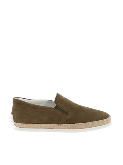 Tod's - Suede espadrilles in Army green