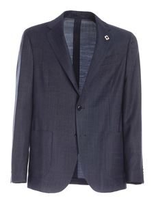 Lardini - Logo brooch single-breasted suit in blue